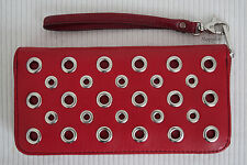 FOSSIL $129 Sydney NVL Zip Clutch Wallet Wristlet Scarlet Red Leather BNWT