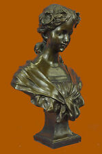 Elegant Classic Nude Female Portrait Bust Bronze Marble Statue Sculpture Artwork