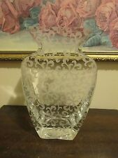 Badash Handmade Crystal Mouth Blown Etched Glass Nirvana Flower Vase 9.5""