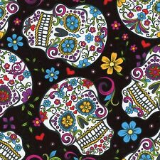 Fabric Day of the Dead Skulls & Zombies on Black Cotton By The 1/4 yard BIN