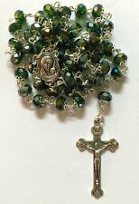 Green Glass Crystal Beads Rosary Pendant Necklace Christian Holiday Gift Prayer