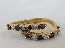 "Vintage Sterling Silver Gold Wash 925 3/4"" Black Stone Hoop Pierced Earrings"