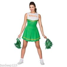 Cheerleader Fancy Dress Costumes Womens Ladies Hig School Prom Uniform Pom Poms