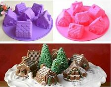 Christmas House Fondant Sugarcraft Jelly Silicone Cake Mould Mold Baking Tins