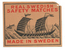 Old Real Swedish Safety Matches Box Label with Boats