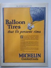 1924 Michelin comfort Cords Balloon Man tires Fit Present Rims Color Ad