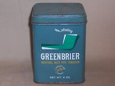 Vintage 8 oz. Greenbrier menthol mild pipe tobacco tin a Kentucky Club product