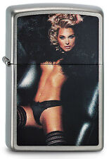 ZIPPO Feuerzeug WOMAN IN FUR Brushed Chrome Sexy Girl NEU OVP Sammlerstück!!