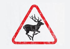 Framed Print - Stag / Deer Crossing Sign (Picture Poster Animal Bear Fox Art)
