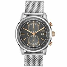 Citizen Eco-Drive Men's CA0336-52H Chronograph Grey Dial Stainless Steel Watch