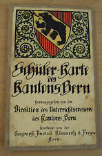 Pre WWII 1930's FOLDING Cloth STUDENT MAP~State of BERN~SWITZERLAND~