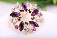 Purple Crystal Rhinestone Banquet Bridal Gold Plated Alloy Pins Brooch Jewelry