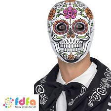DAY OF THE DEAD SPANISH ROSE SKELETON BONE MASK HALLOWEEN - mens fancy dress
