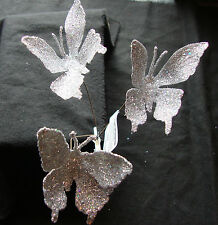 9 Silver Glitter Clip On Butterflies tree Decorations picks gift wrapping craft