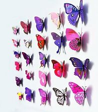 12pc Removable 3-dimensional 3D butterfly wall stickers w/ fridge magnet -Purple