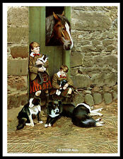 BORDER COLLIE SCOTTISH BOYS MOTHER PUPS AND HORSE VINTAGE STYLE DOG PRINT POSTER