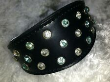 Diamante Double  LEATHER DOG puppy COLLAR WHIPPET Xx SMALL 12 in collar