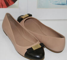 NEW MARC  by MARC JACOBS  TUXEDO NUDE LEATHER LOGO PLAQUE FLATS   SZ 6.5    $198