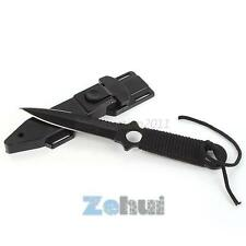 Black Tip Diving Knife With Serrated Blade Scabbard Scuba Pocket Survival Knife