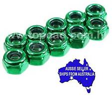3mm steel NON flanged lock nuts may suit Tamiya HPI Axial 1:10 RC  - GREEN
