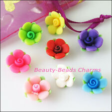 8Pcs Mixed Handmade Polymer Fimo Clay Flower Leaf Spacer Beads Charms 15mm