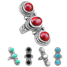 Wholesale Lot 10pcs Antique Silver Plated Exotic Three Round Turquoise Rings