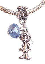 March Birthstone Little Boy Baby Crystal Dangle Bead for European Charm Bracelet