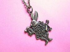 Alice In Wonderland Vintage Look Bronze Tone White Rabbit Necklace Brand New