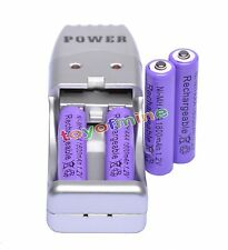 4 AAA NiMH rechargeable battery +USB Charger MP3 purple