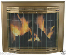 Pleasant Hearth Glass Fireplace Door Grandior Bay Antique Brass Large GR-7202