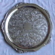 Beautiful Vintage Silver Plated Round Chased Tray by Viners Sheffield 14""