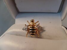 Estate Tiny 14k Gold,Onyx and Diamonds Bee Brooch/Pin