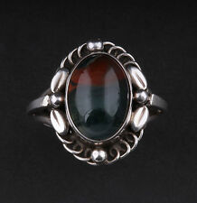 Georg Jensen Sterling Silver Ring # 1 with Moss Agate. Design: GJ himself. RARE!