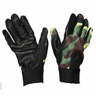 MENS GREEN CAMOUFLAGE LEATHER SPANDEX FITTED GLOVE NEW
