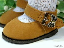 "**SALE** BROWN Suede Mary Jane DOLL SHOES Butterfly Buckle fit 18"" AMERICAN GIRL"
