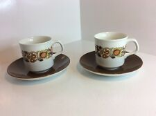 2 Vintage J&G Meakin Cup And Saucer Sets, Design By Alan Rogers c1968
