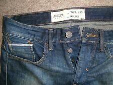 BURTON Mens Blue Denim Button Fly TAPERED JEANS~W28/L30~EXCELLENT CONDITION