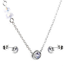 Stainless Steel fashion Jewelry Set, Rhinestone Solitaire Necklace &  Earrings