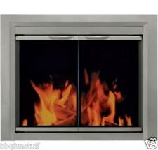 Pleasant Hearth Glass Fireplace Door Colby Nickel Meduim CB-3301 Mesh Screens