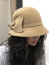 Beige Wool Felt Ladies Hat with Bow
