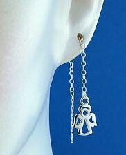 Solid 925 Sterling Silver Angel pull Through Threader Earrings /  Dangle