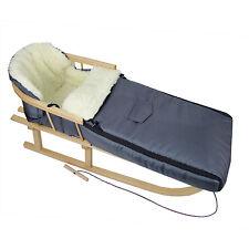 Holzschlitten mit Rückenlehne + Winterfußsack aus Wolle Schlitten DUNKELGRAU 90