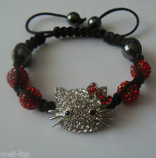 Hello Kitty Shamballa Red-Silver Czech Crystal Bracelet +Free pair of earrings