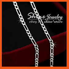 24K YELLOW ROSE WHITE SILVER GOLD GF FIGARO CURB CHAIN SOLID NECKLACE pendant