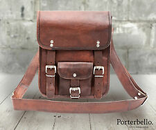 Brown Handcrafted Vintage Style Leather Satchel Tablet Messenger Crossbody Bag