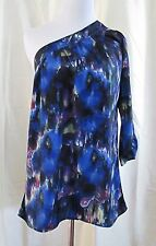 Delicia Top Size Med One Shoulder Blue Multicolor Patterned Abstract Clearance