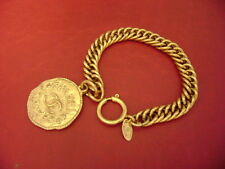 Chanel vintage CC logo w/ double sided large size coin charm chain bracelet