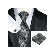 Mens Grey & Black Paisley 100% Silk Pocket Square Hanky Cufflink Tie Set Wedding
