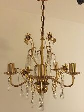 Vintage French Style Gilt Metal Chic Toleware Tole Crystal Glass Chandelier