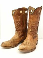 Vintage 70s Cowboy Boots Buckaroo Rocker Hippie Farm Broken In Leather 11 D